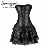 7 Sizes Black/Green/Purple/Red Floral Lace Patterned Overbust Polyester Gothic Corset with Skirt