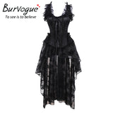 5 Sizes Black Floral Patterned Lace Decorated Overbust with Strap Polyester Corset Skirt