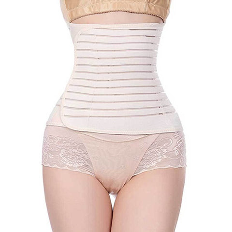 Beige/Black Horizontal Stripe Pattern Velcro Closure Underbust Lycra Tummy Tuck Belt