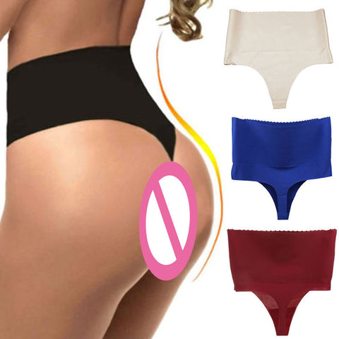 4 Sizes Skin Black/Red/Blue/Deep Red High-rise Spandex Girdle Thongs