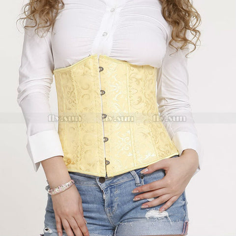 5 Sizes Embroidered Pattern Button Closure Underbust Polyester Yellow Corset