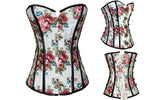 5 Sizes White Hook Closure Overbust Polyester Floral Corset