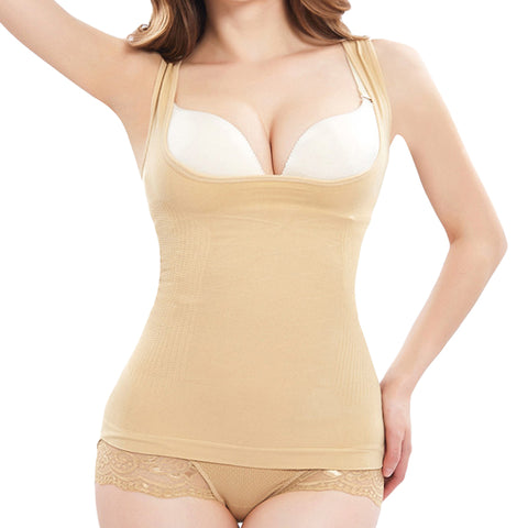 2 Sizes Beige/Black Underbust Nyon Body Shaping Tank Top