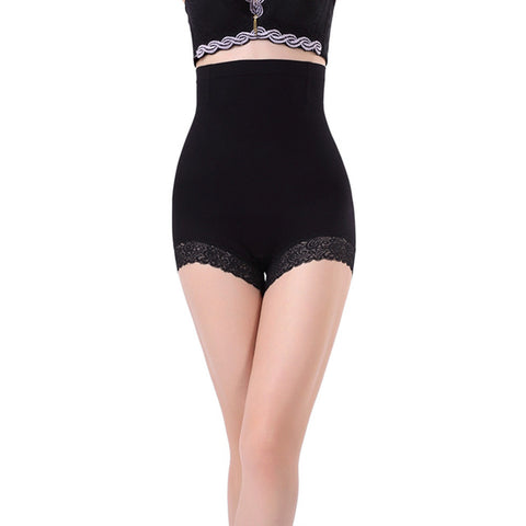 2 Sizes Beige/Black Lace Leg Lining Underbust Polyester Girdle Panties