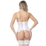 2 Sizes Mesh Design and Bow Decorated Overbust with Strap Polyester White Corset