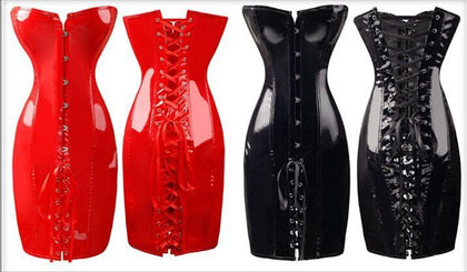 5 Sizes Red/Black Button and Lace Closure Overbust Spandex Dress Corset