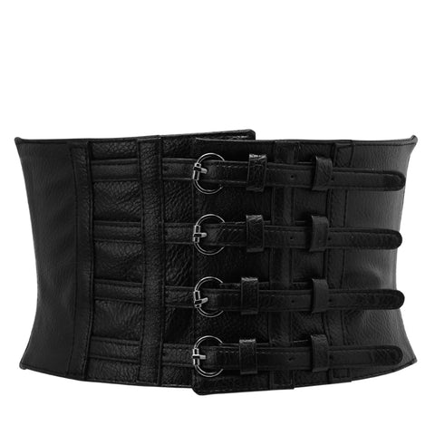 Black 4 Buckle Closure Belt Faux Leather Corset