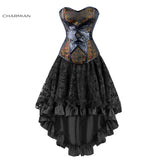 10 Sizes Brown and Black Lace Decorated Overbust Polyester Victorian Corset with Skirt