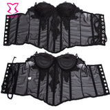 5 Sizes Black/Pink Patch Flower Decorated in Mesh Overbust Chiffon Floral Corset