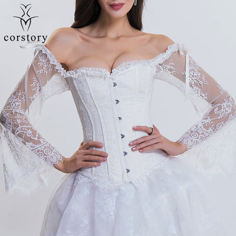 5 Sizes Black/White Button Closure Lace Long Sleeves Overbust Polyester Victorian Corset