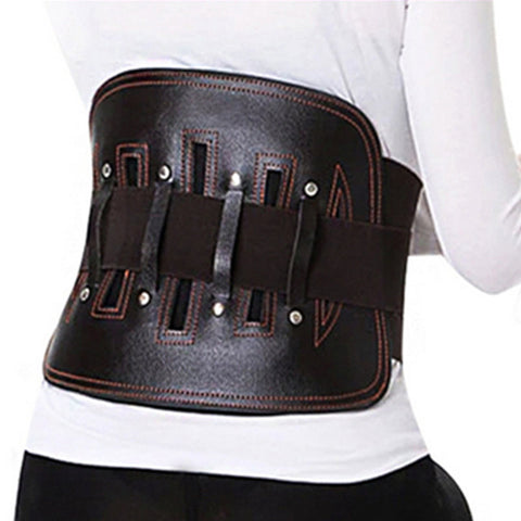 4 Sizes Black Velcro Closure with Support Belt Underbust Leather Waist Trainer for Back Pain