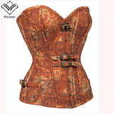 5 Sizes Hook and Buckle Closure Overbust Polyester Tan Corset