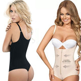5 Sizes Apricot/Black Hook and Zipper Closure Bodysuit Overbust with Strap Body Shaper Thongs