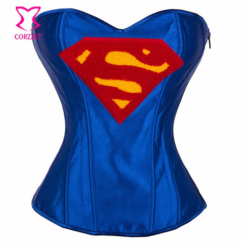 5 Sizes Superman Logo Overbust Spandex Blue Corset