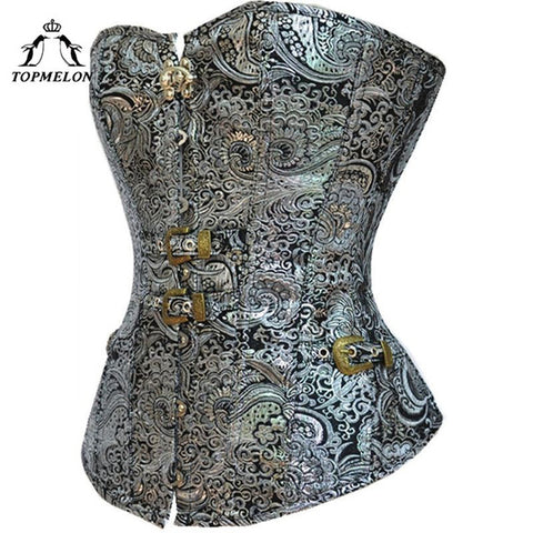 5 Sizes Floral Pattern Buckle and Hook Closure Overbust Polyester Silver Corset