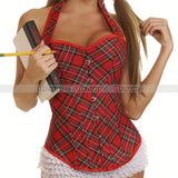 5 Sizes Red Halter-Type Overbust Polyester Plaid Corset