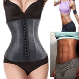 6 Sizes Black Dotted Patterned Hook Closure Underbust Latex Waist Trainers