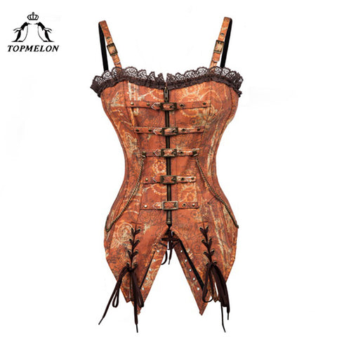 5 Sizes Zipper and Buckle Closure with Strap Overbust Polyester Tan Corset