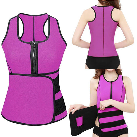 5 Sizes Rose Red/Purple/Blue/Black Zipper and Magic Tape Bottom Closure Waist Trainer Vest