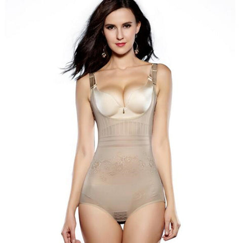 5 Sizes 2 Styles Beige/Black Lace Decorated Underbust Nylon Body Shaper Bodysuit