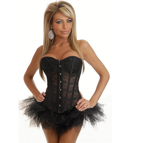 5 Sizes Black/White Button Closure Overbust with Skirt Spandex Mesh Corset
