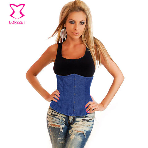 5 Sizes Blue Underbust Denim Corset