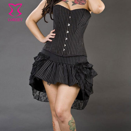 5 Sizes Black Button Closure Overbust Cotton Pinstripe Corset