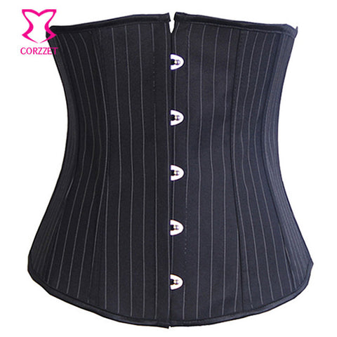 5 Sizes Black Button Closure Underbust Cotton Pinstripe Corset