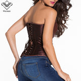5 Sizes Brown/Black Zipper Closure Overbust PVC Corset