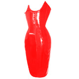9 SIzes Black/Red Underbust Polyester PVC Dress Corset