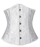 5 Sizes White/Black/Red/Black and White Hook Closure and Black/Black and White/Red and White Zipper Closure Underbust Polyester Brocade Girdle