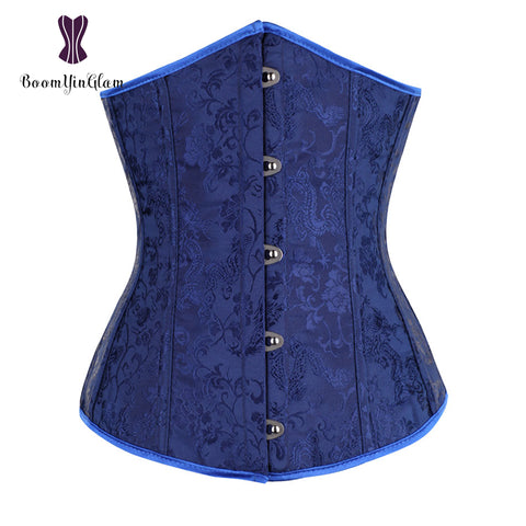 5 Sizes Button Closure Underbust Polyester Blue Corset