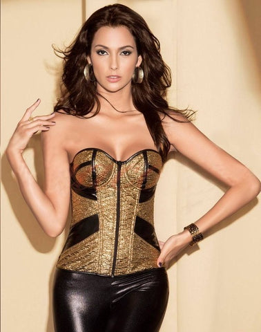 4 Sizes Zipper Closure Overbust Cotton Gold Corset
