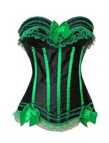 7 Sizes Striped Design with Ruffles and Bow Decorated Overbust Polyester Green Corset
