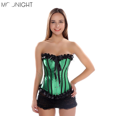 5 Sizes Striped Design with Ruffles and Bow Decorated Overbust Polyester Green Corset