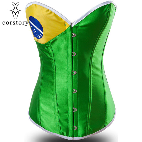 5 Sizes Brazil Flag Button Closure Overbust Satin Green Corset