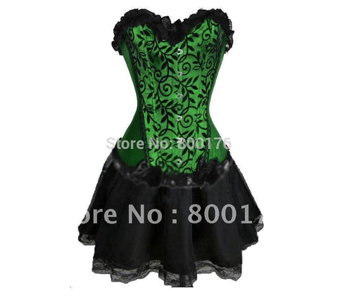 6 Sizes Leaf Pattern Button Closure Overbust Polyester Green Corset Dress