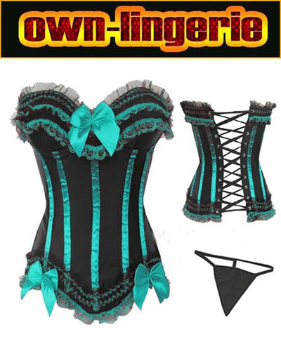 5 Sizes Bow and Ruffles Decorated Overbust Polyester Green Corset