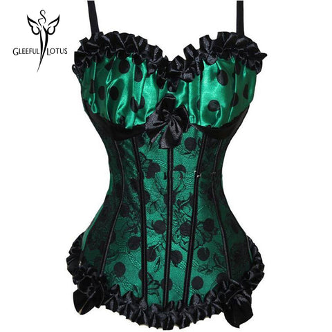 5 Sizes Ruffle Decorated with Strap Overbust Satin Green Corset