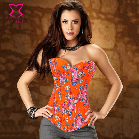 5 Sizes Floral Designed Overbust Polyester Orange Corset