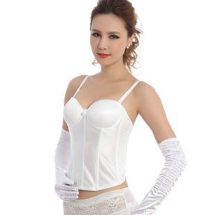 5 Sizes Overbust with Strap Polyester White Corset