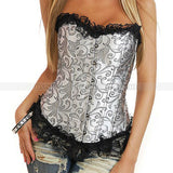 5 Sizes Ruffle and Brocade Decorated Hook Closure Polyester Silver Corset