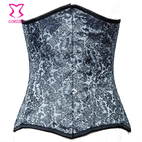 5 Sizes Printed Pattern Underbust Polyester Silver Corset