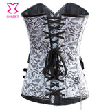 5 Sizes Floral Patterned with Faux Belt Overbust Nylon Silver Corset