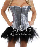 5 Sizes Zipper Closure Overbust Satin Silver Corset