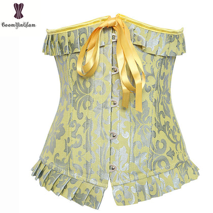 5 Sizes Ruffles and Bow Decorated Button Closure Underbust Polyester Yellow Corset
