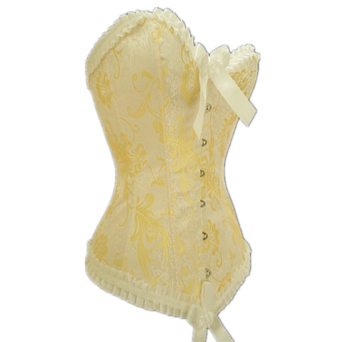 Lace and Bow Decorated Overbust Yellow Corset