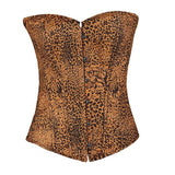 4 Sizes Brown Button Closure Overbust Polyester Leopard Corset