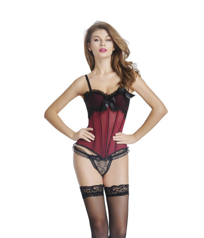 5 Sizes Lace and Bow Decorated with Strap Overbust Cotton Burgundy Corset