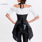 5 Sizes Black Hook and Buckle Closure Halter-type Underbust Polyester Victorian Corset